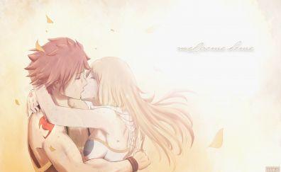 Lucy Heartfilia, Natsu Dragneel, kiss, anime couple, blonde anime