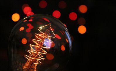 Tungsten Light Bulb, bokeh, night