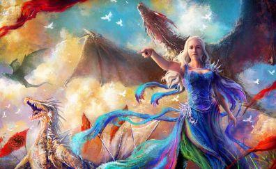 Game of thrones, daenerys, dragon, artwork