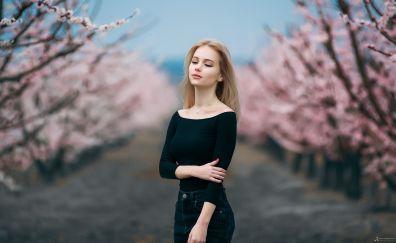 Spring, portrait, blonde, Russian model