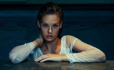 Wet hair, girl, model, swimming pool