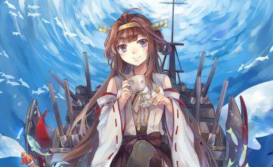 Kongou, Kantai, kancolle, beautiful anime girl