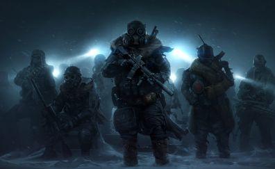 Wasteland 3, masked, soldiers, video game