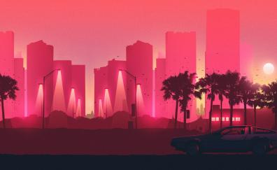 Pink city illustration artwork