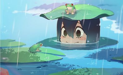Tsuyu asui, rain, frog, Boku no Hero Academia, My Hero Academia, anime girl
