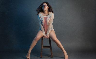 Brunette, glasses, model, sitting