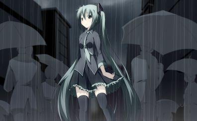 Hatsune miku in rain, anime