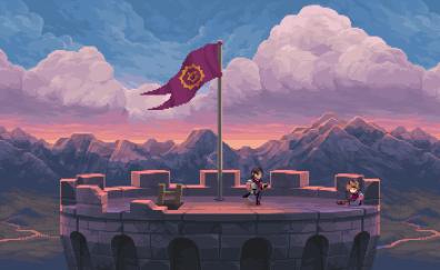 Pixel art, chasm, castle