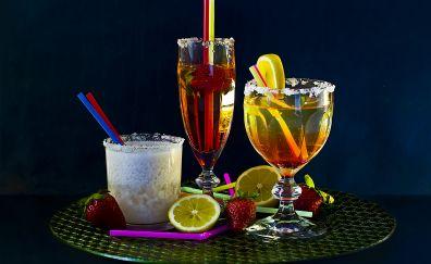 Cocktails, milkshake, strawberry, orange, ice, sugar, lemon drinks