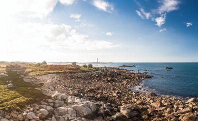 Sea shore, rocks, sky