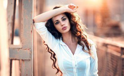 Brunette long hair girl model