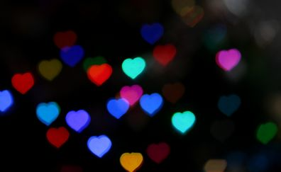 Heart, bokeh, decorations lights