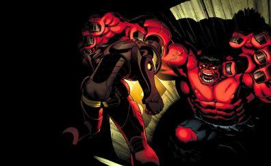 Iron man, red hulk, marvel comics, fight