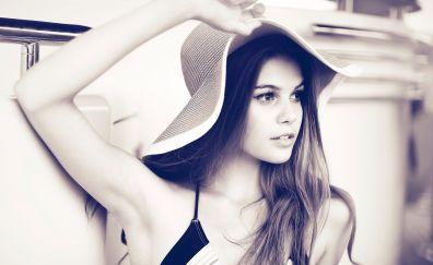 Sepia, model, face, hat