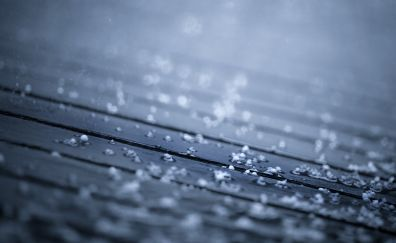 Water drops, wooden surface