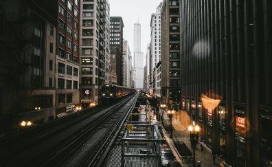 Chicago, city, railroad, buildings