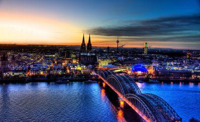 Hohenzollern bridge, aerial view, night, city