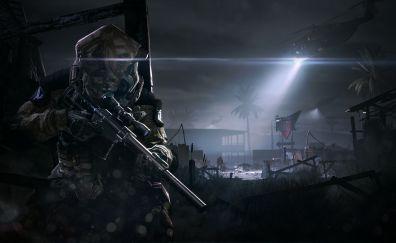 Warface Online game, night, soldier