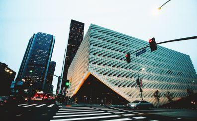 City street, buildings, road