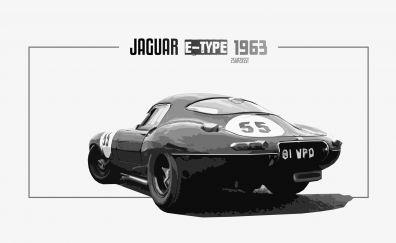 Jaguar E-Type, car, rear view, art