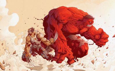 Angry hulk, wolverine, logan, marvel comics artwork