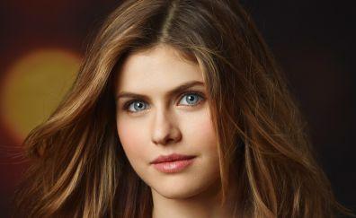 Alexandra Daddario, blue eyes, model, girl, face, 4k