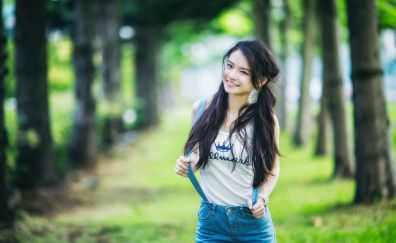 Happy Asian model, outdoor, garden