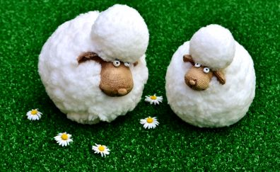 Sheep figures, funny, daisy flowers, meadow