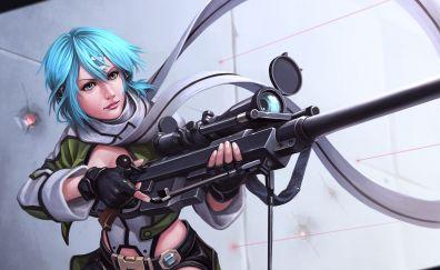 Asada Shino, Sword Art Online, SAO, blue hair anime girl, art