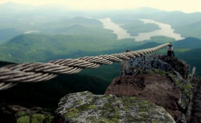 Rope, close up, mountains, river