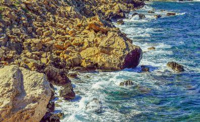 Sea coast, rocks, sea waves