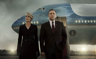 House of cards, couple, TV series, airplane
