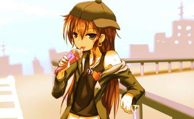 Pixiv Fantasia T, anime girl, eating ice cream