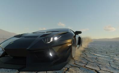 Black lamborghini aventador in The Crew: Wild Run video game