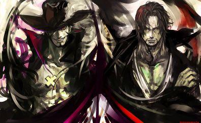 One piece, Gol D. Roger, Dracule Mihawk, anime art
