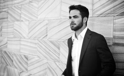 Chris Pine, actor, suit, monochrome