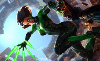 Green lantern, girl lantern, dc comics, art