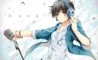 Headphone, microphone, anime girl