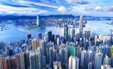 Hong Kong city, aerial view