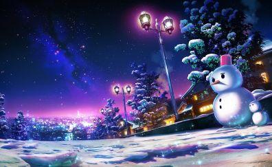 Snowman, winter, lamp, night, art