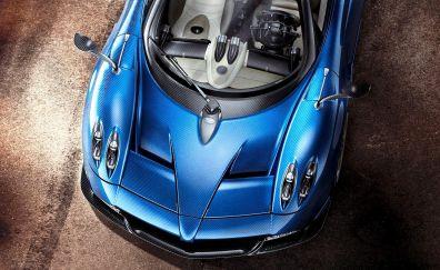 Pagani Huayra Roadster, blue sports car, bonnet