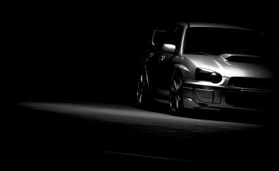 Subaru car, monochrome