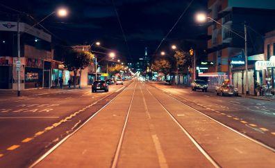 Street, road, Melbourne city, night