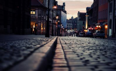 London paved street in sunset