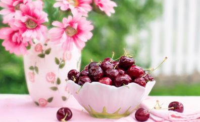 Cherries in a bowl fruits, flowers