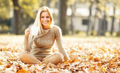 Smile, blonde, model, leaves, fall