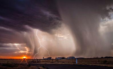 Lightning, clouds, road, nature, landscape