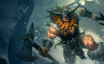 Angry warrior, viking, League of legends video game, gaming