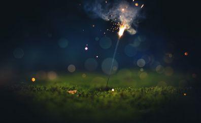 Sparkler, night, lights, fireworks