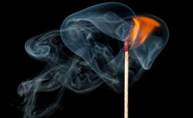 Match fire, smoke, close up
